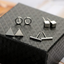 1 Lot/4Pai Rock Style Triangle Stud Earrings Set Stainless Steel Men Women Small Silver Bts Circle Geometric Cubic Black Earring(China)
