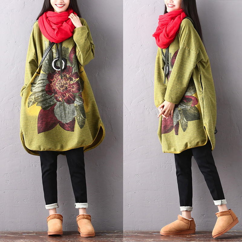 2019 female new srping and autumn plus size literary big flower casual hooded temperament thin batwing
