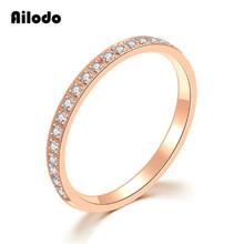 Ailodo Luxury 20 Crystals Women Rings Rose Gold Color Titanium Steel Engagement Wedding Ring Fashion Female Jewelry Gift LD015