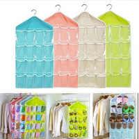16 Pockets Hanging Bag Creative Wardrobe Organizer Home Storage Hanging Organizer For Socks Bra Underwear Kids Toys Storage