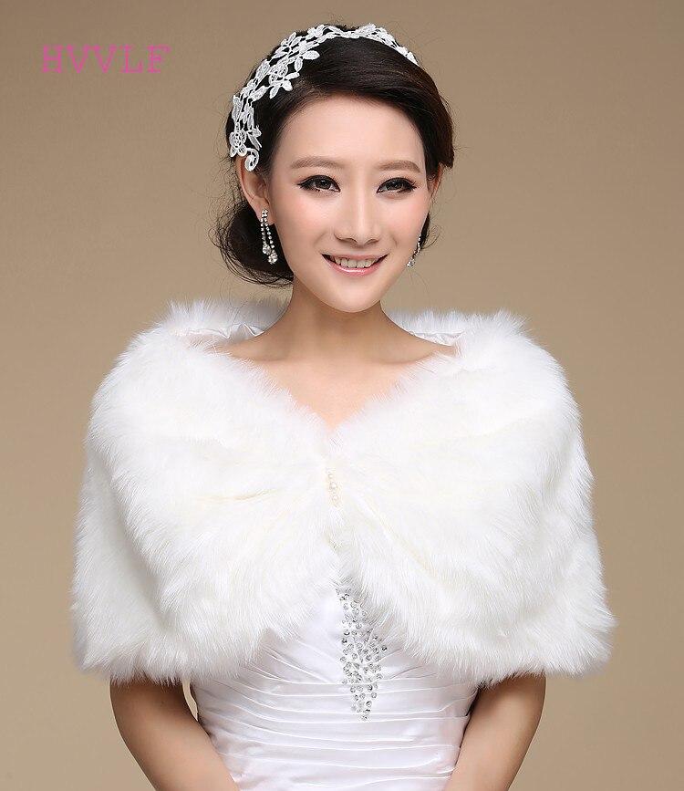 Women Winter Bridal Stole Bridal Wraps Warm Faux Fur Wedding Party Wrap Boleros Bridal Shawl Evening Party Cape