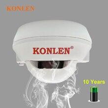 KONLEN czujka dymu 10 lat bateria długa żywotność ogień dla niepalących czujnik alarmu niezależna fotoelektryczny dla ogień działa ochrony