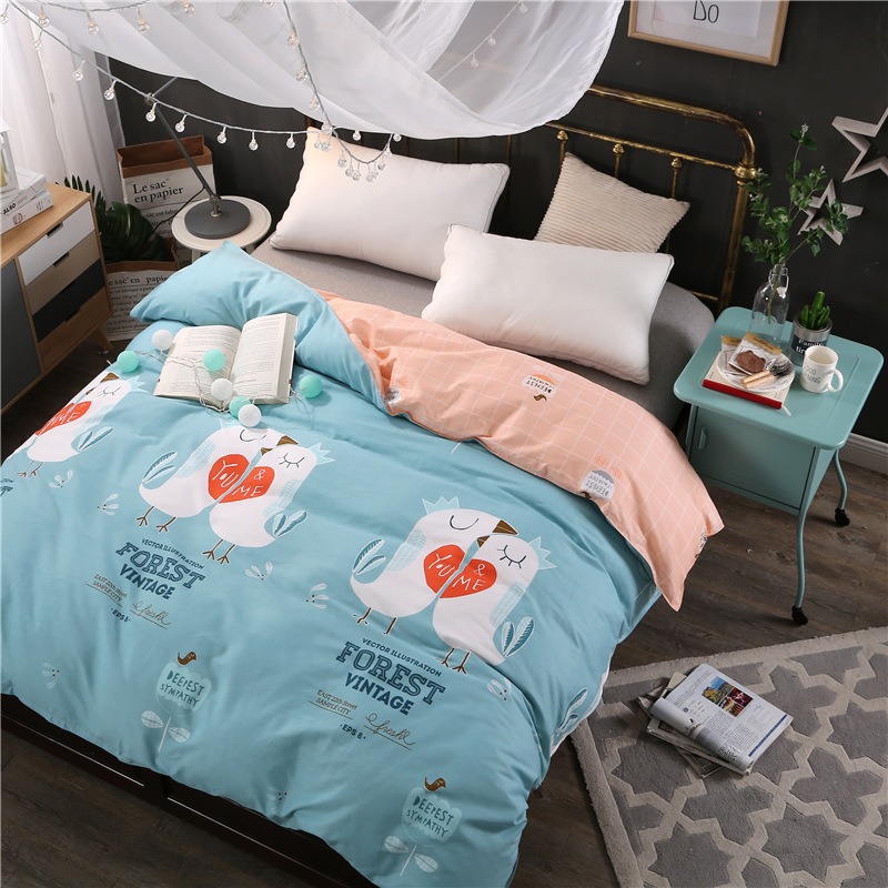 Pure cotton twin full queen king size duvet cover cartoon blue kids girl Good quality blanket quilts cover bedding Home textile