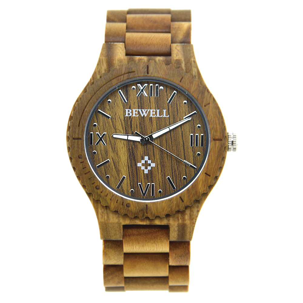 New Brand BEWELL Mans Wooden Watches Sport Fashion Sandalwood Watch Luminous Pointers Masculino Birthday Gift with Box 065A