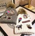 Gatito Etiqueta Pegada Pequeño Real Encantadora Sombreros de Lana para Mujer de las mujeres otoño E Invierno Mantenga Caliente Tejer Mao Qiumao sombrero de pompón de piel