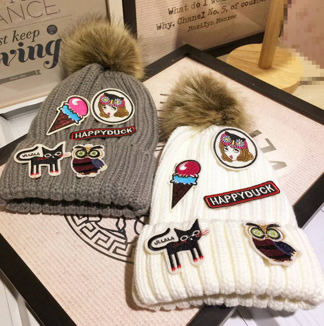 Kitty Label Affixed Small Real Lovely Wool Hats for women Woman Autumn And Winter Keep Warm Knitting Mao Qiumao hat fur pompom