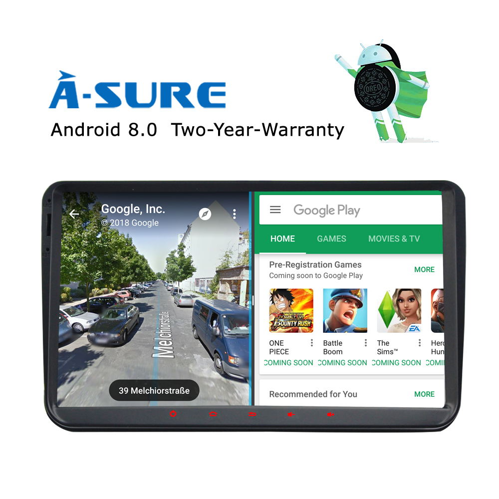 A-Sure 9 Android 8.0 Car GPS 8 core 4 GB for Volkswagen VW Tiguan Polo Golf 5 6 Passat B6 Jetta Transporter T5 DAB+ Radio