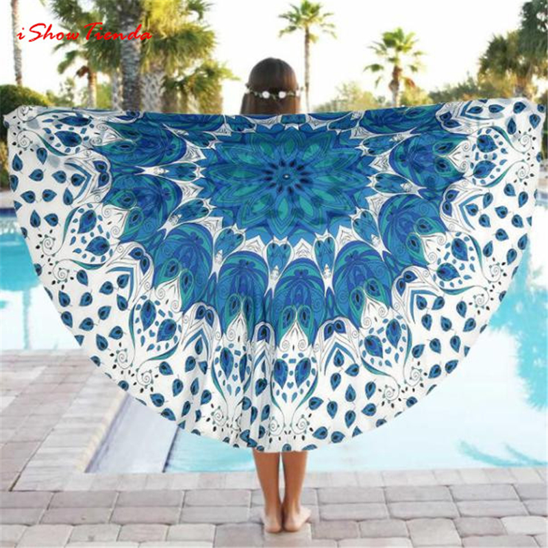 ISHOWTIENDA 1pc Fashion Design Round Beach Pool Home Shower Towel Blanket Table Cloth Yoga Mat Camping Towel serviette de plage