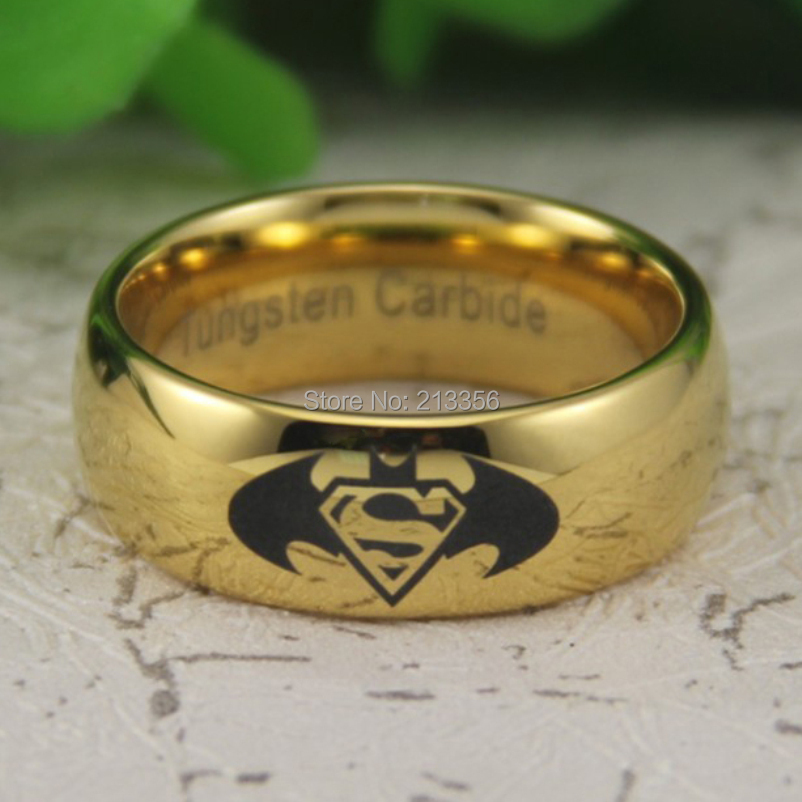 cheap price free shipping usa canada hot selling 8mm new golden dome batman superman the lord - Superman Wedding Rings