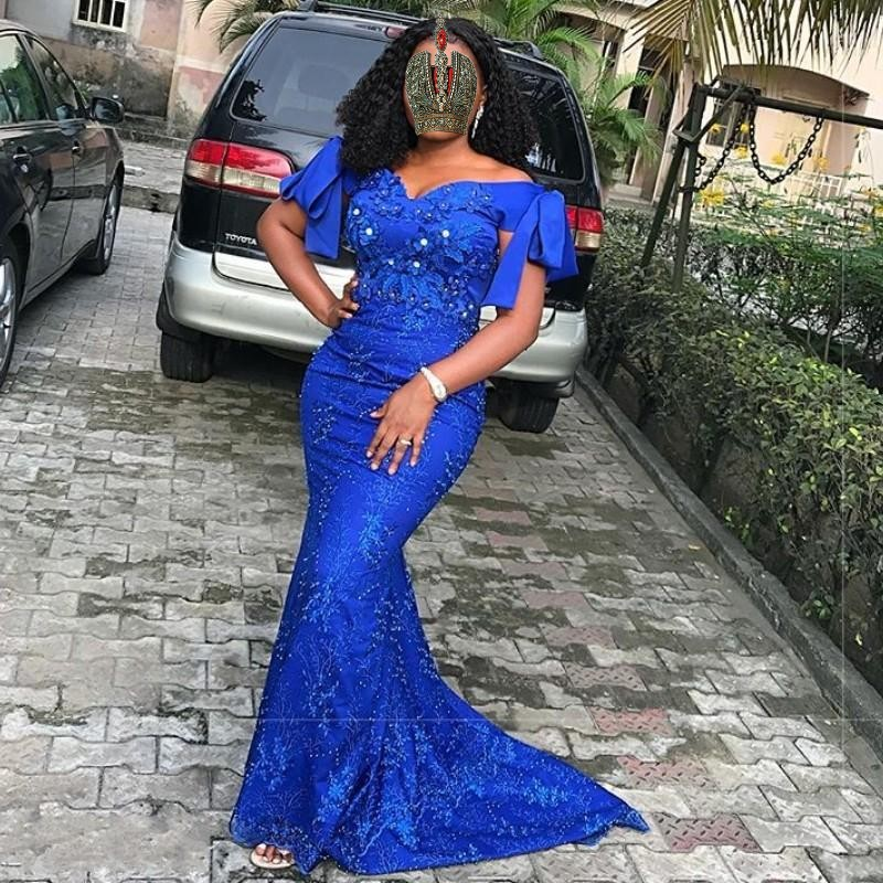 Custom Royal Blue Long   Evening   Gowns Mermaid Plus Size   Evening     Dress   With Train Vestido De Festa   Evening     Dresses   robe de soiree