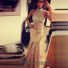 ZJ6 Amazing Halter Long Gold Sequined Mermaid Prom Dresses 2016 Sexy Backless Sparkly Crystal Evening Party Dress For Pageant