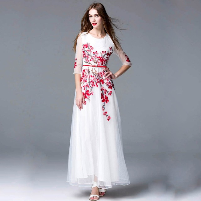Elegant Long Runway Dresses with Red Belt