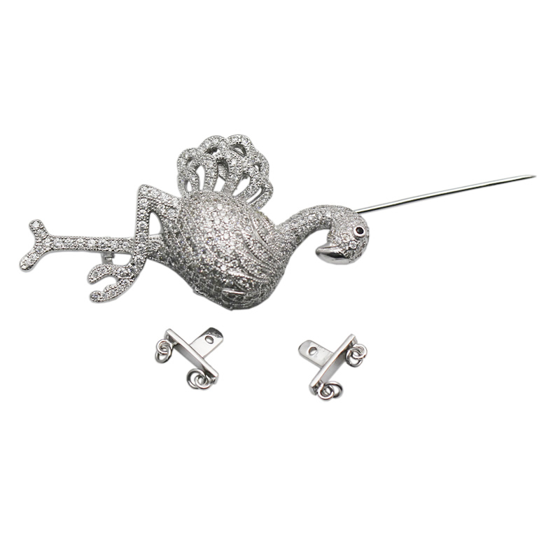 Beadsnice 925 Sterling Argent Animaux Conclusions CZ Pave Fermoir Broche Multi Strand Collier Faisant Accessoires ID 35291 - 4