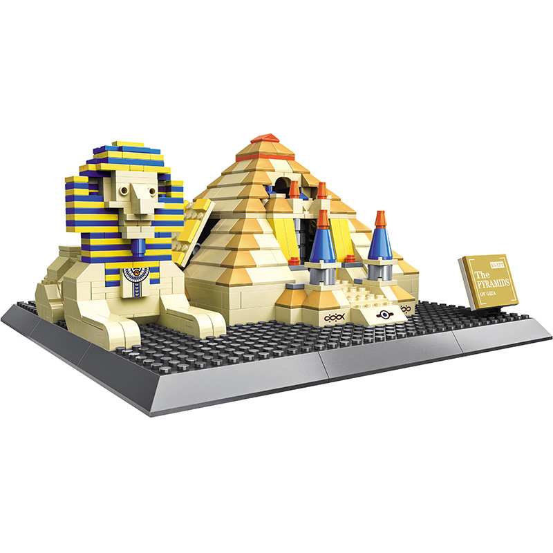 WANGE Pyramid Small Architecture Model Action Building Blocks Sets Assembled Collectible Creative For Children Educational Toys wange louvre of paris building blocks set model small architecture series 2017 classic educational toys for children gifts