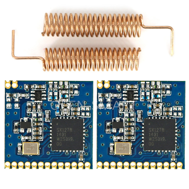 2PCS 433MHz SX1278 Long Range RF Wireless Transceiver Module High sensitivity LORA 1278 Module + 2PCS 433MHz Spring antenna