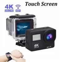 Touch Screen Ultra 4K 30FPS WiFi Camera Dual Screen Remote Control Camcorder 30M Underwater Action Cam Bicycle Helmet Camera