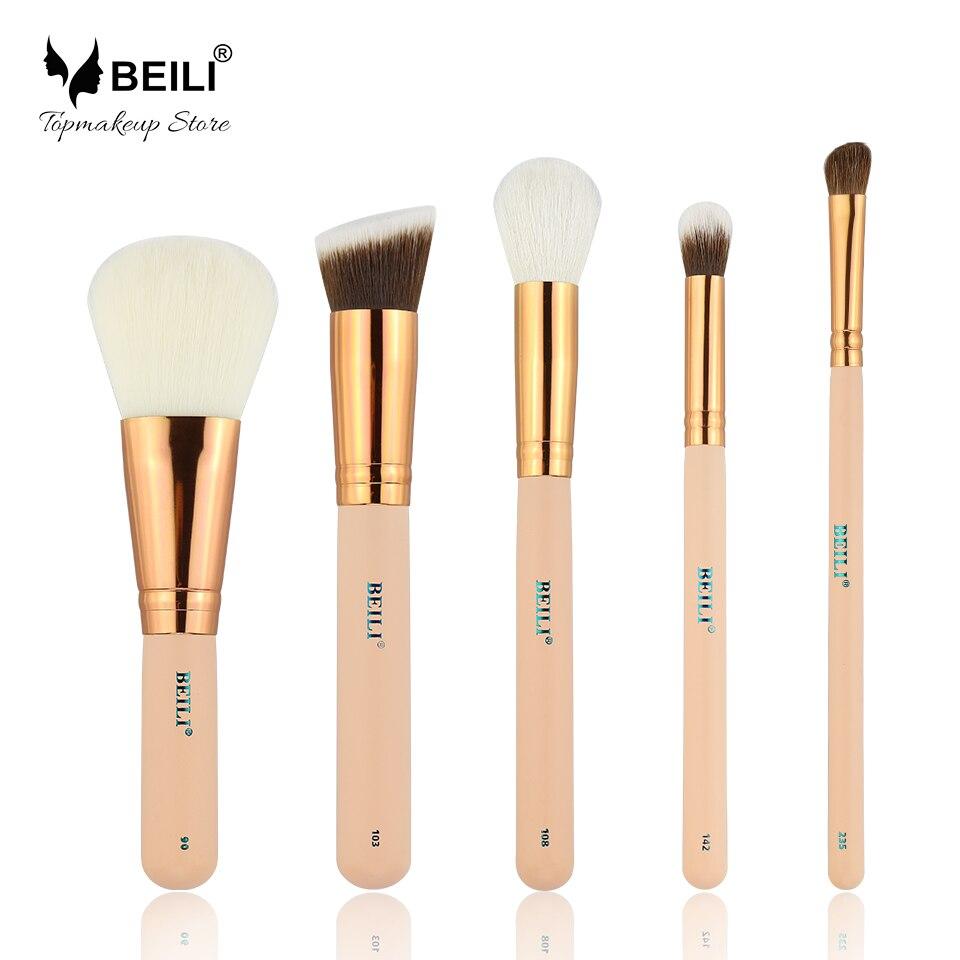 купить BEILI Rose Golden 5pcs Makeup Brush Set Vol.1 Powder Contour Concealer Eye Shadow Makeup Tool по цене 463.87 рублей
