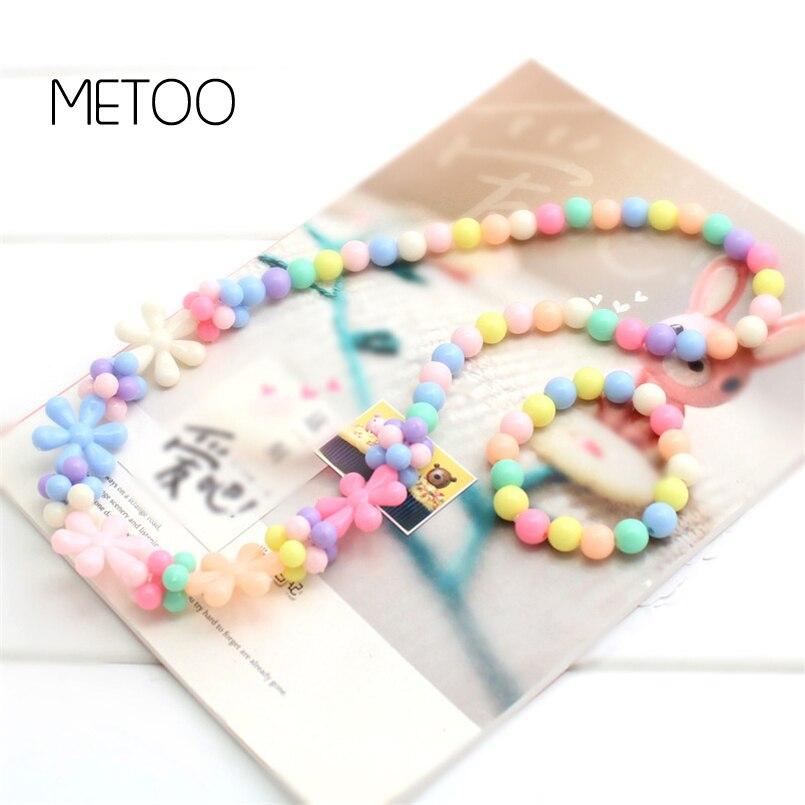 Metoo Heißer Kinder Halskette & Armband Candy Farbe Runde Halskette Perlen Baby Sicher Schönheit Wafer Prinzessin Kinder Schmuck 1 Set