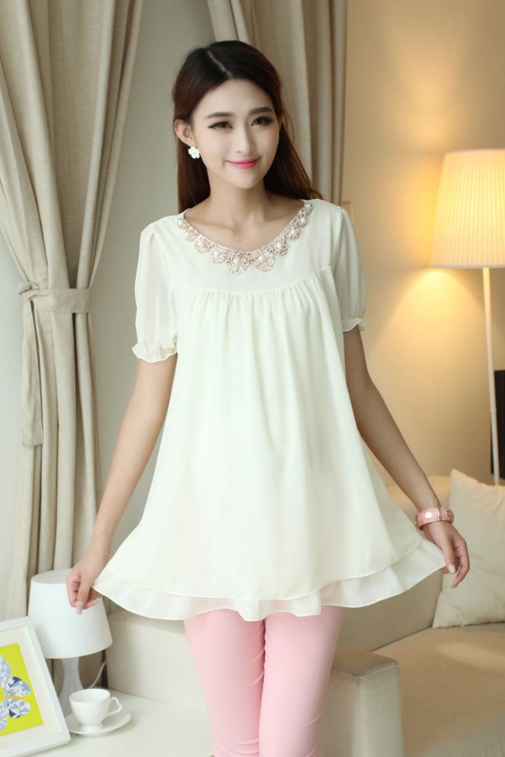Pearl Necklace Bending Chiffon Maternity Blouse Pregnant ...