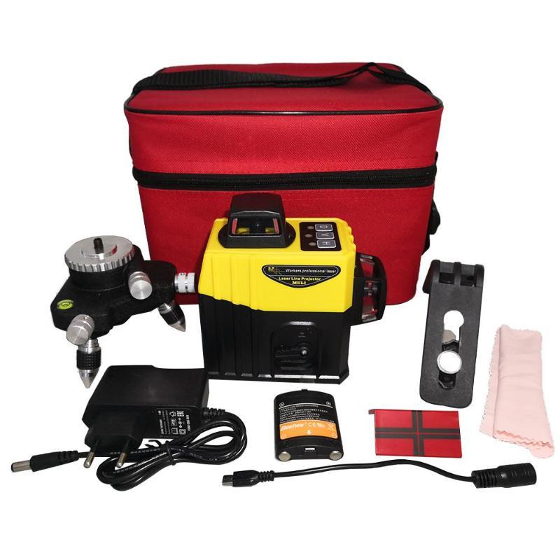 12 lignes 3D infrarouge faisceau rouge dispositif auto-nivelant Instruments de niveau Laser avec auto-nivellement Super puissant faisceau Laser rouge nouveau