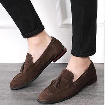 Mocassin Homme Spring Summer Soft Leather Slip On Loafers Driving Smoking Slippers Tassel Formal Dress Loafer Causal Office Men