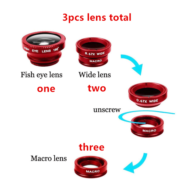 Universal Mobile phone lenses 3 in 1 Fisheye Lens for iphone 6s 5s samsung s5 fish eye wide angle macro camera lens for LG G3 P8