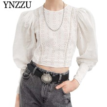 YNZZU Women Lace Blouse Shirt 2019 Spring Summer O Neck Puff Sleeve Hollow Out Short Female White Tops blusa feminina YT562