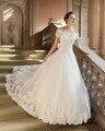 Dreagel Elegant Boat Neckline Vestido Short Sleeves A-line Wedding Dresses 2017 Delicate Appliques Beaded Bridal Dress Hot Sale