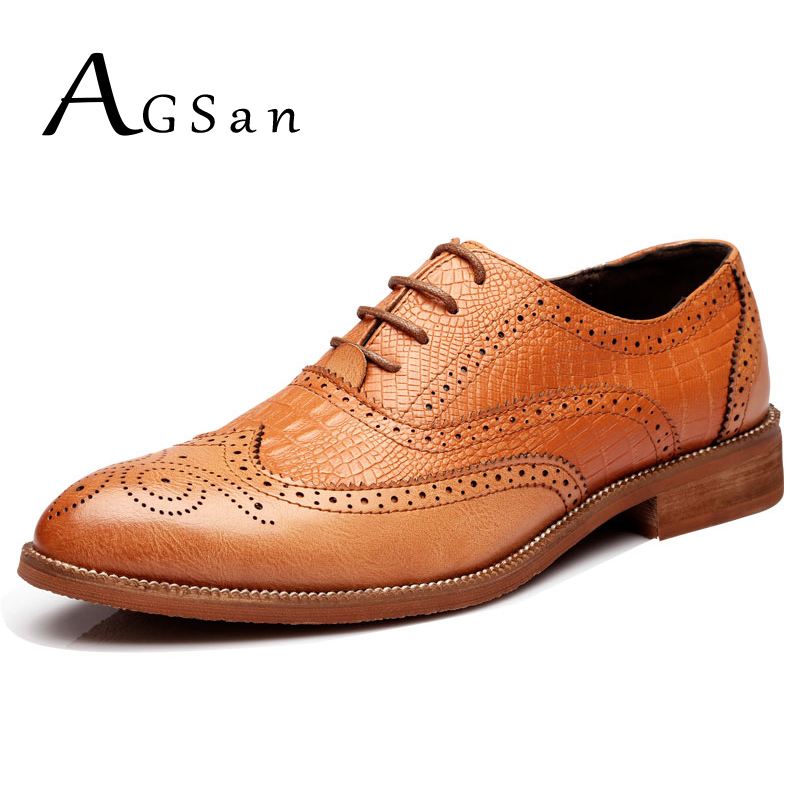 AGSan Men Brogue Shoes Split Leather Oxfords Shoes Classic Handmade Men Business Shoes Lace Up Brogue Wedding Dress Shoes Brown new branded men s casual full grain leather oxfords shoes wedding dress shoes handmade business lace up brogue shoes for men