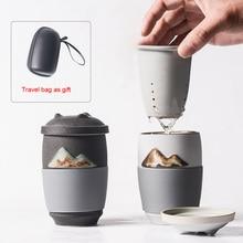 PINNY 300ML Office Creative Mug Ceramic Portable Travel Tea Mugs Chinese Service Household Maker Double Wall  Cup