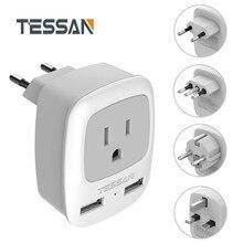 """TESSAN בינלאומי תקע חשמל מתאם עם 1 לשקע בארה""""ב 2 USB טעינת נמל עבור ארה""""ב לאיחוד האירופי גרמניה צרפתית איטליה בריטניה נסיעות"""