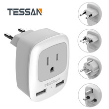 TESSAN International Power Plug Adapter with 1 US Outlet and 2 USB Charging Port for USA to EU Germany French Italy UK Travel