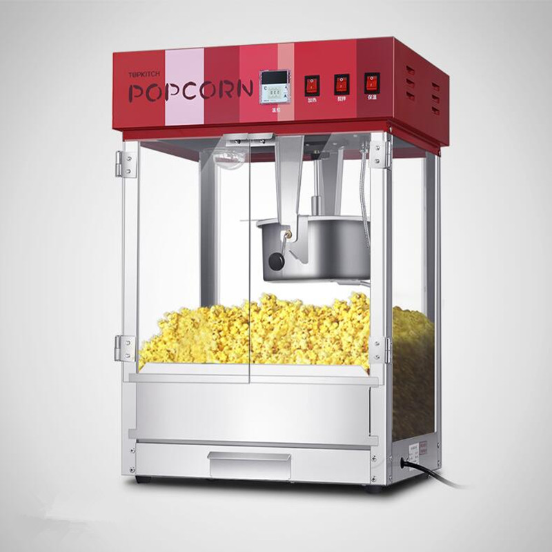 220V/1.6KW Non-stick Commercial Popcorn Machine Popcorn Maker With PC Door pop 06 economic popcorn maker commercial popcorn machine with cart