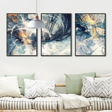 Modern Minimalist Blue and Golden Abstract Art Decorative Painting Living Room Wall Prints Home Decor Framed Canvas Art Picture