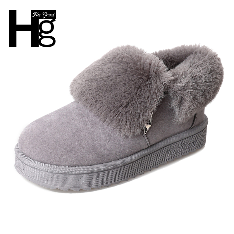 HEE GRAND 2017 Flock Women Snow Boots Winter Warm Plush Fur Black Shoes Women Fat with 3 Colors Ankle Boots Size 35-40 XWX6612 hee grand sweet faux fur slippers fashion flats shoes woman slip on bowtie winter warm women shoes 4 colors size 36 41 xwt966