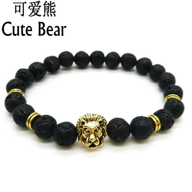 9885aa1018 Antique Gold Buddha Leo Lion Head Bracelet Black Matte stone Lava Stone  Beaded Bracelets For Men
