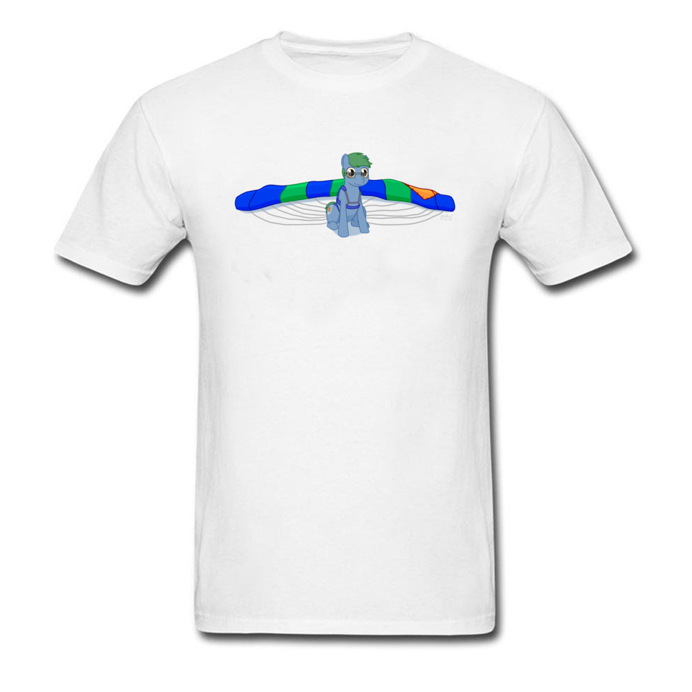 Cute Pony Skydiving Adventure Top T-Shirts Cheaper 100% Cotton Fabric Slim Fit T Shirt Outfit Russia Larger Size White Blue Tees