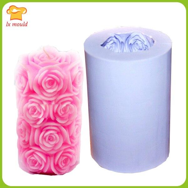 LXYY розы Большие цилиндрические формы для свечей силиконовые формы для мыла силиконовые формы
