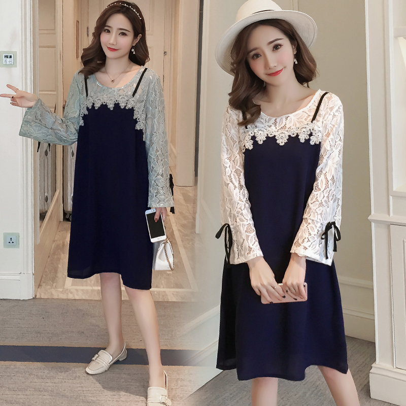 Lace Stitching Maternity Clothes Casual Pregnancy Dress Cotton Fashion Maternity Clothing Of Pregnant Women 2018 Spring