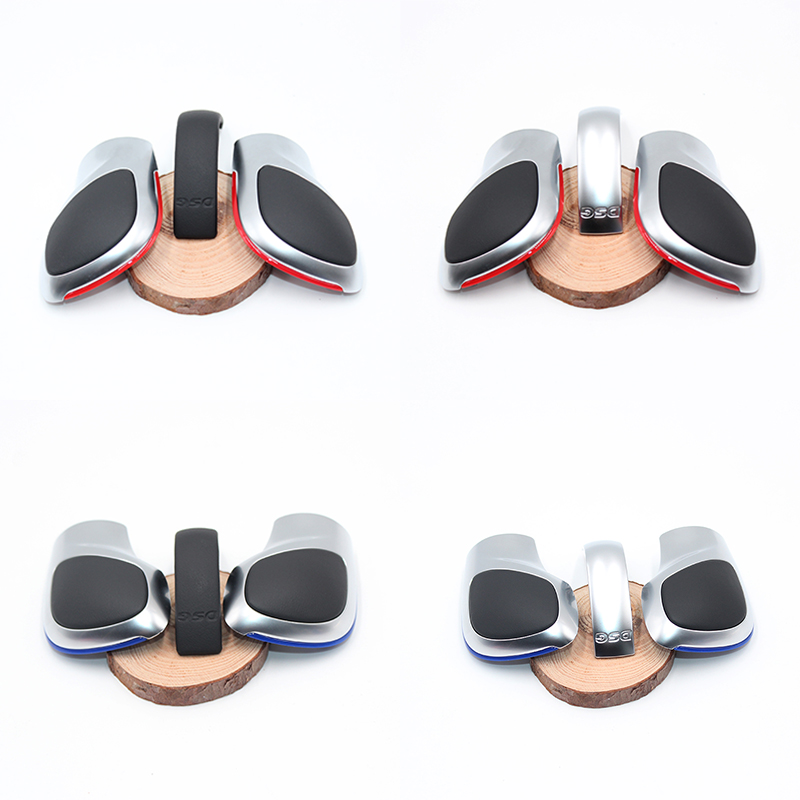 3Pcs Refit Red Blue Line Matte Ghrome Leather DSG Shift Knob Cover Cap Shell For Golf