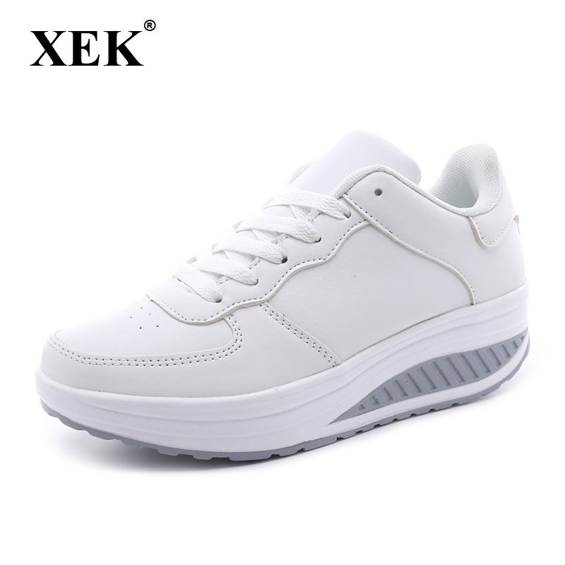 XEK Plus Size Spring Women Flat Platform Shoes Woman White Nursing Shoe Loafers Slip on Moccasins Slimming Shoes woman ST207