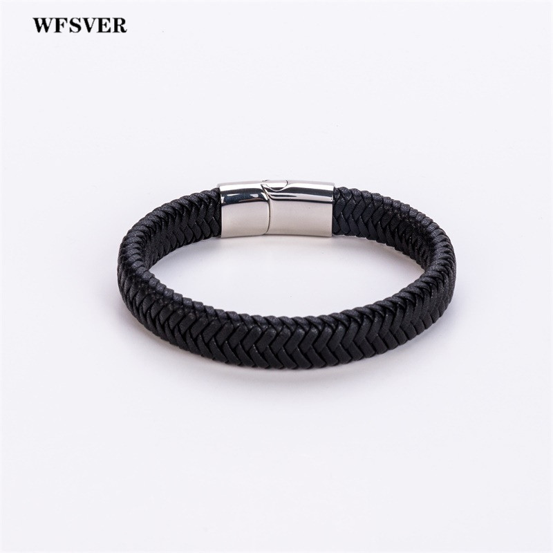WFSVER stainless steel magnetic clasps microfiber leather bracelet men black punk bracelets bangles fashion jewelry