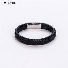 WFSVER stainless steel magnetic clasps microfiber leather bracelet men black punk leather bracelets bangles fashion jewelry все цены