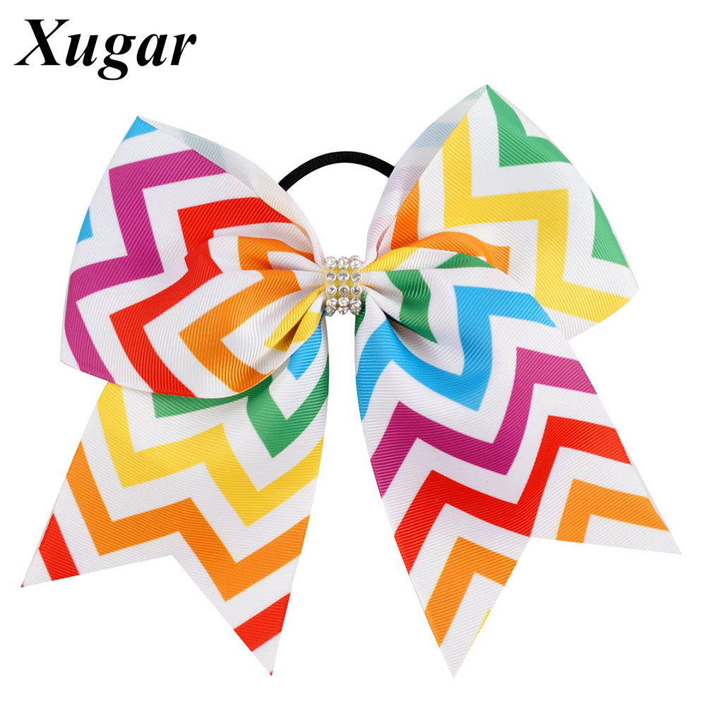 7'' Chevron Cheer Bow Rainbow With Boutique Rhinestone Large Hair Bow Cheerleaders Girl Hair Accessories cheer