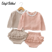 ФОТО children clothing sets baby girls ruffles lace plaid sweaters+knitted shorts sets baby outfits for 0~24 months