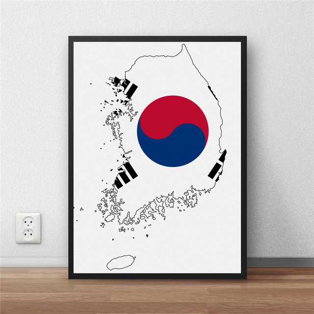 South korea flag home decoration painting modern coated poster south korea flag home decoration painting modern coated poster library country world map cafe restaurant wall gumiabroncs Images