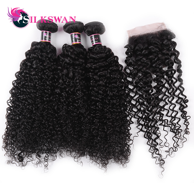 Slikswan Hair Indian Kinky Curly 2 3 Bundles Human Hair With 4 4 Lace Closure Remy