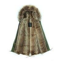 TOP quality new 2015 winter jacket coat women's parkas army green Large raccoon fur collar hooded woman outwear mr mrs fur