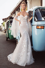 Sexy Mermaid Wedding Dresses Lace Appliques Strapless Style Mermaid/Trumpet bridal Dress gowns With Detachable Sleeves
