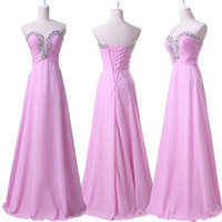 Free Shipping 2014 Real Fashion Sweetheart Neck Silk Chiffon Crystals Prom Party Dresses Long Evening Formal